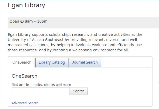Egan Library homepage screenshot showing OneSearch search box