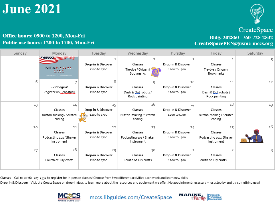 The CreateSpace calendar for June. Sign up for classes M, W, F from 12 to 5, or visit during drop-in days on T and Th from 12 to 5.