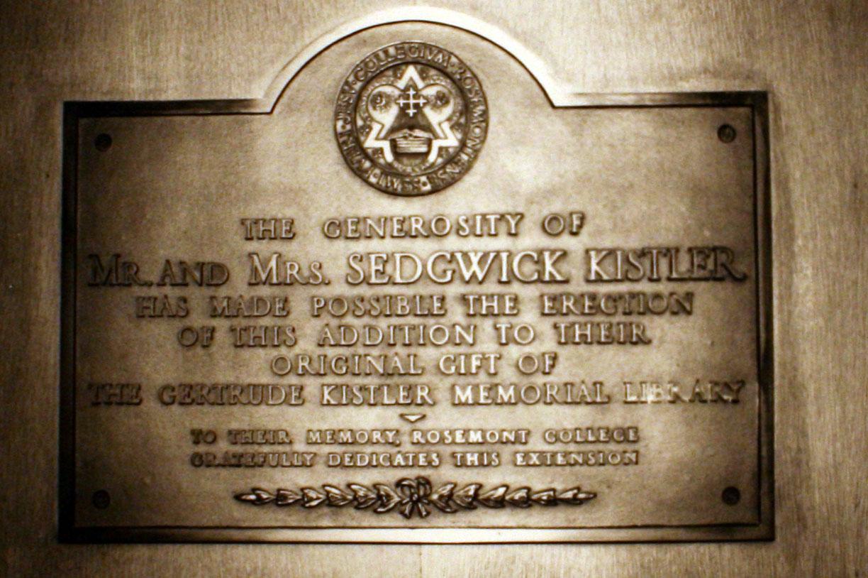 Kistler Library Plaque, 1934