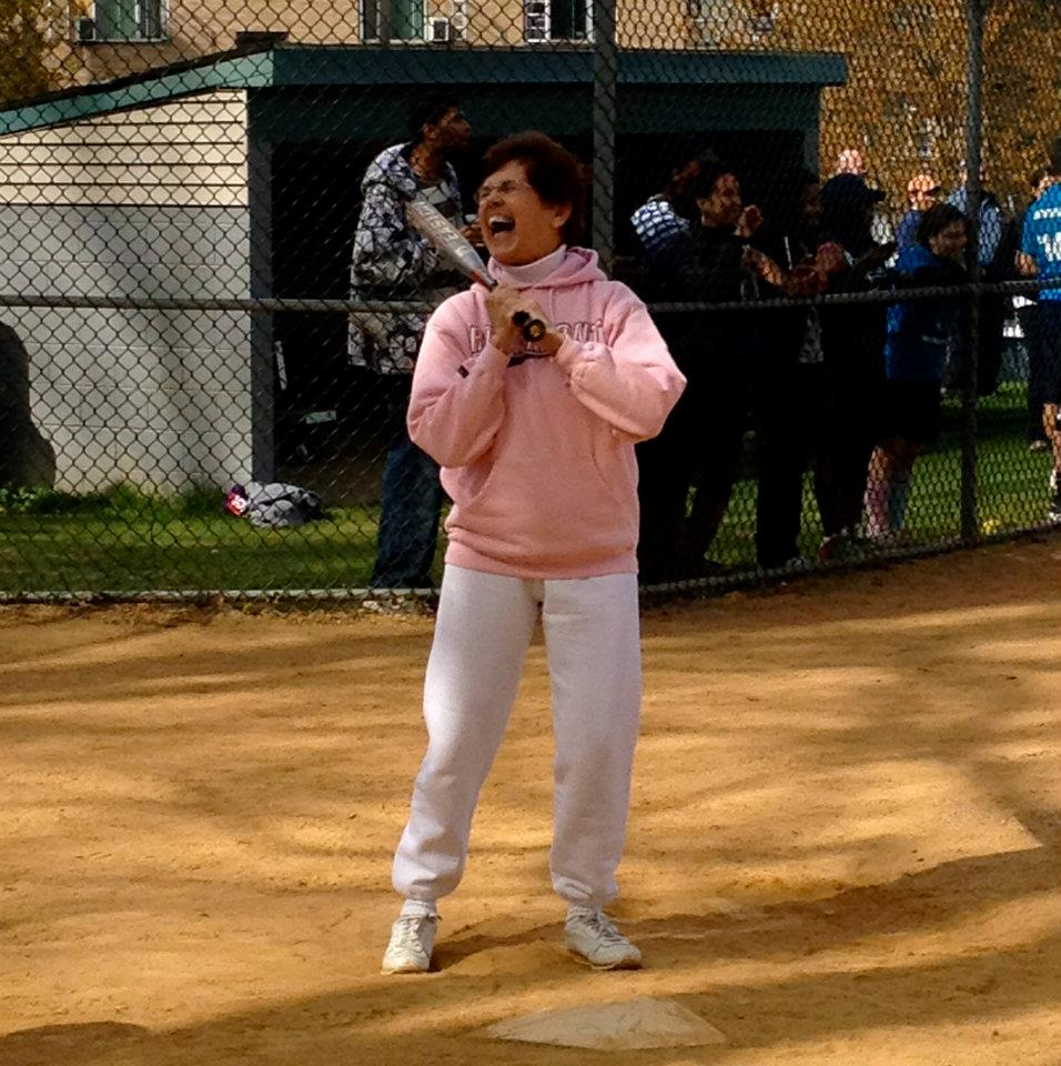 Sr. Jeanne up-to-bat at the Founder's Day Softball Game, 2013