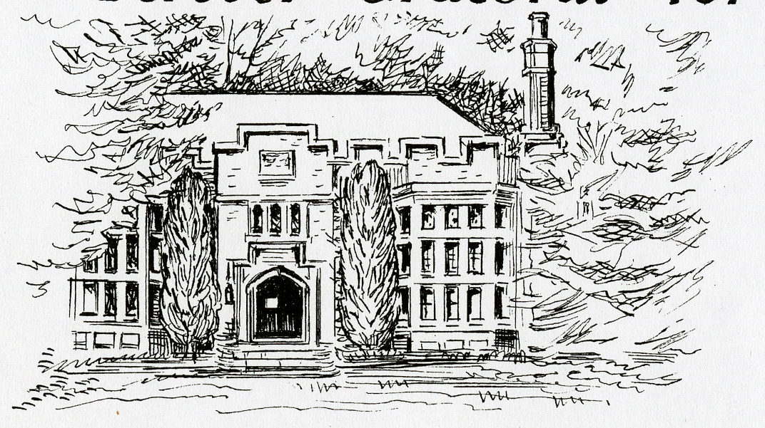Drawing of the Library by Victoria Donohoe '40