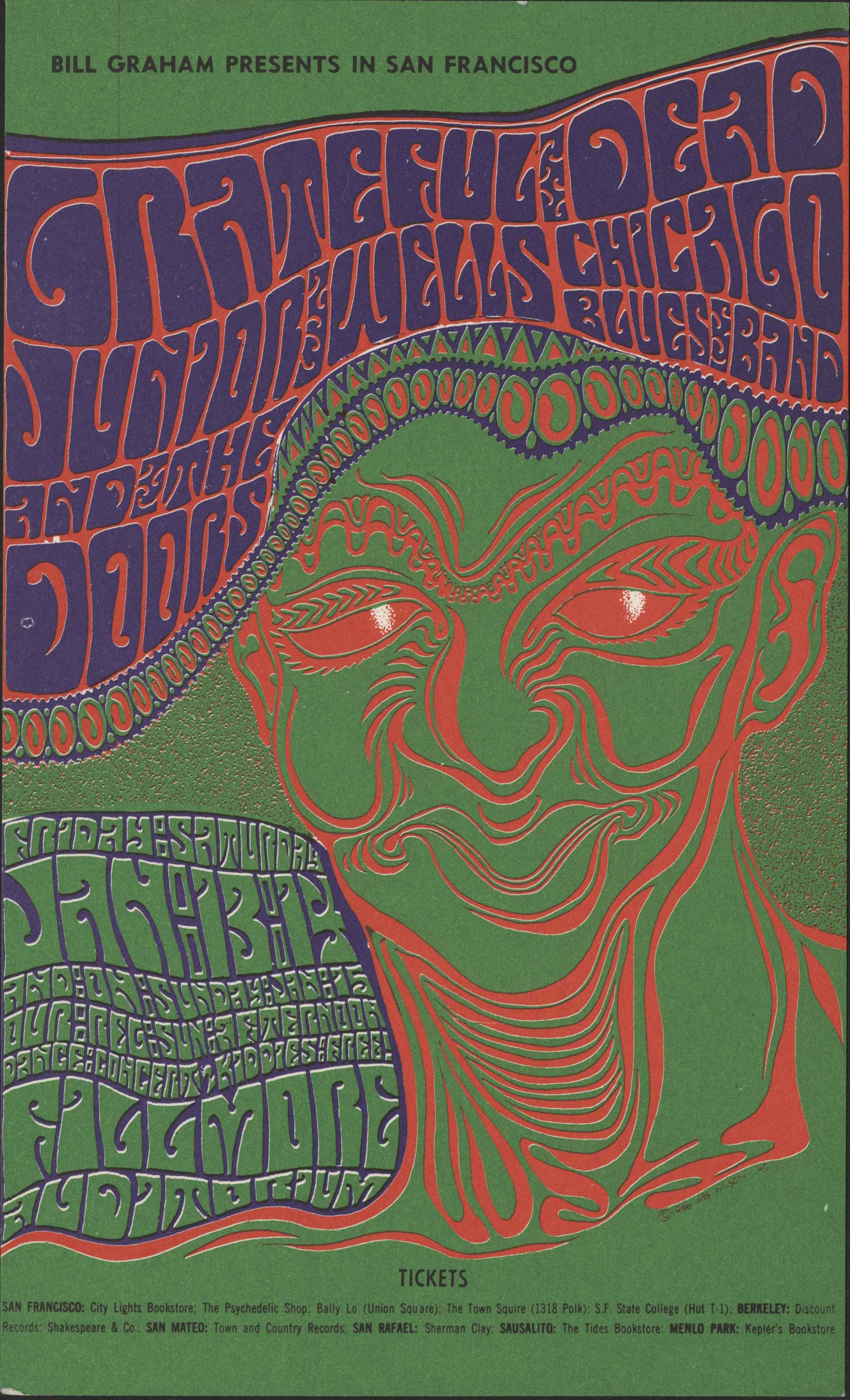 Grateful Dead concert flyer, Bill Graham, Fillmore, San Francisco