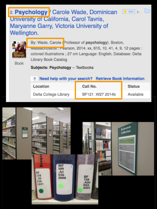 Screenshot showing physical book entry in OneSearch with title, author, and call number highlighted. Below this is a photo of the library stacks (bookshelves) with signs on the end of each describing the call number range of the books there and finally, photo of book spines with call numbers on the backs of each book.