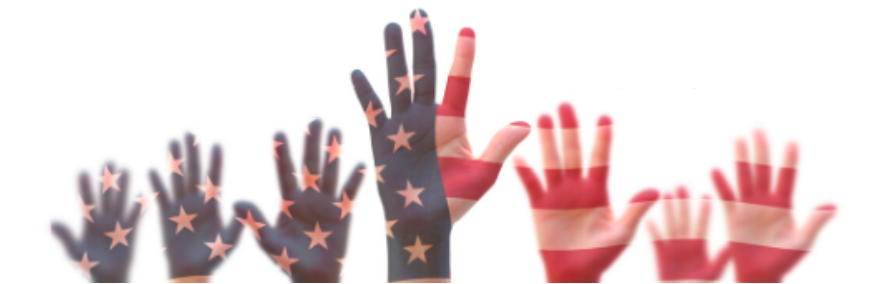 Red, white, and blue hands reaching upward