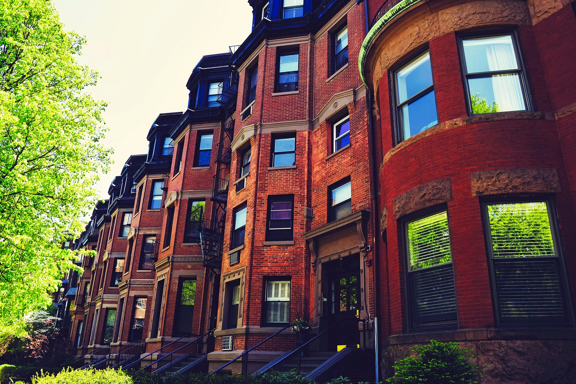 Red brick row houses in Boston