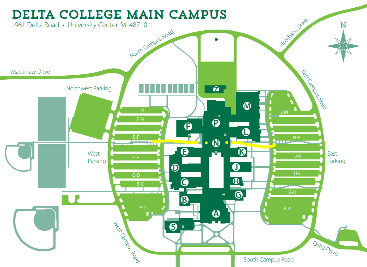 Map of Delta College Main campus showing N-wing entrance