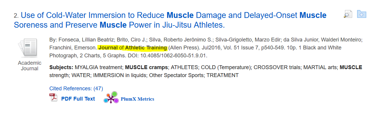 EBSCO Citation from Journal of Athletic Training