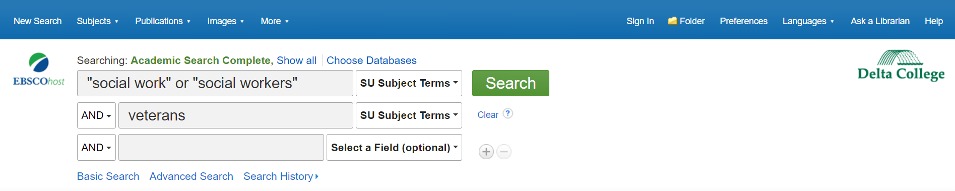 EBSCO search example