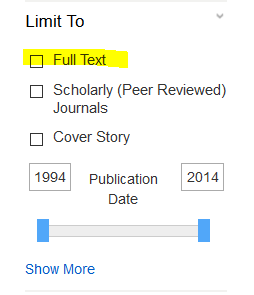image showing full text limit area in EBSCO