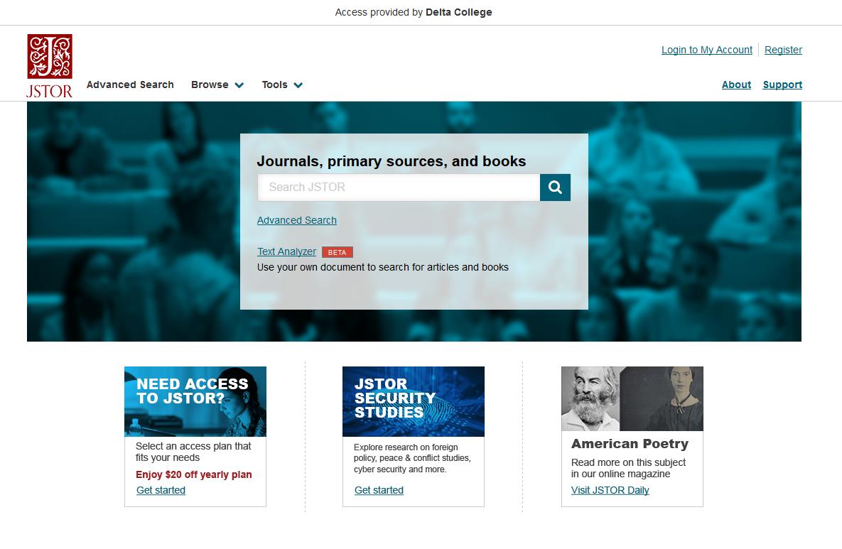 JSTOR webpage image
