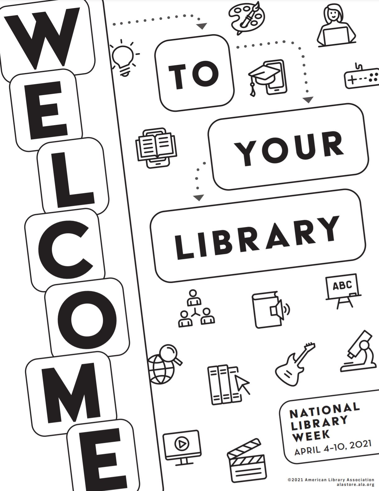 Image of Welcome to Your Library Coloring Sheet