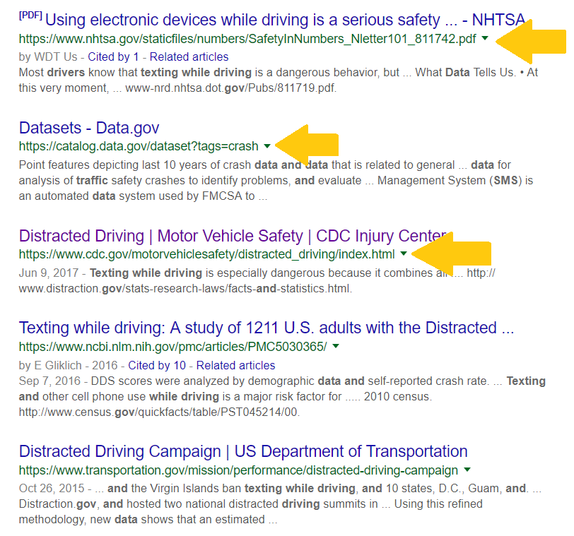 image of advance google search results limited to .gov websites