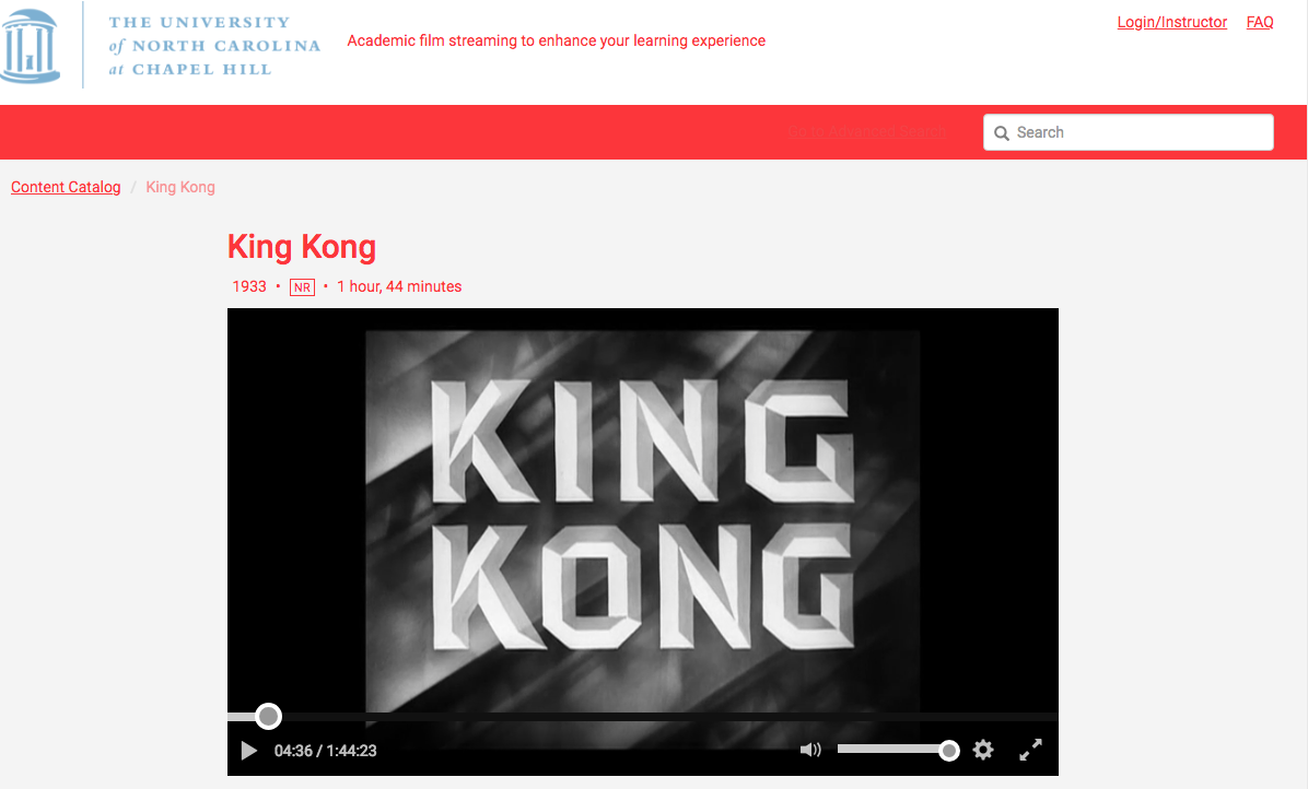Title Screen for King Kong