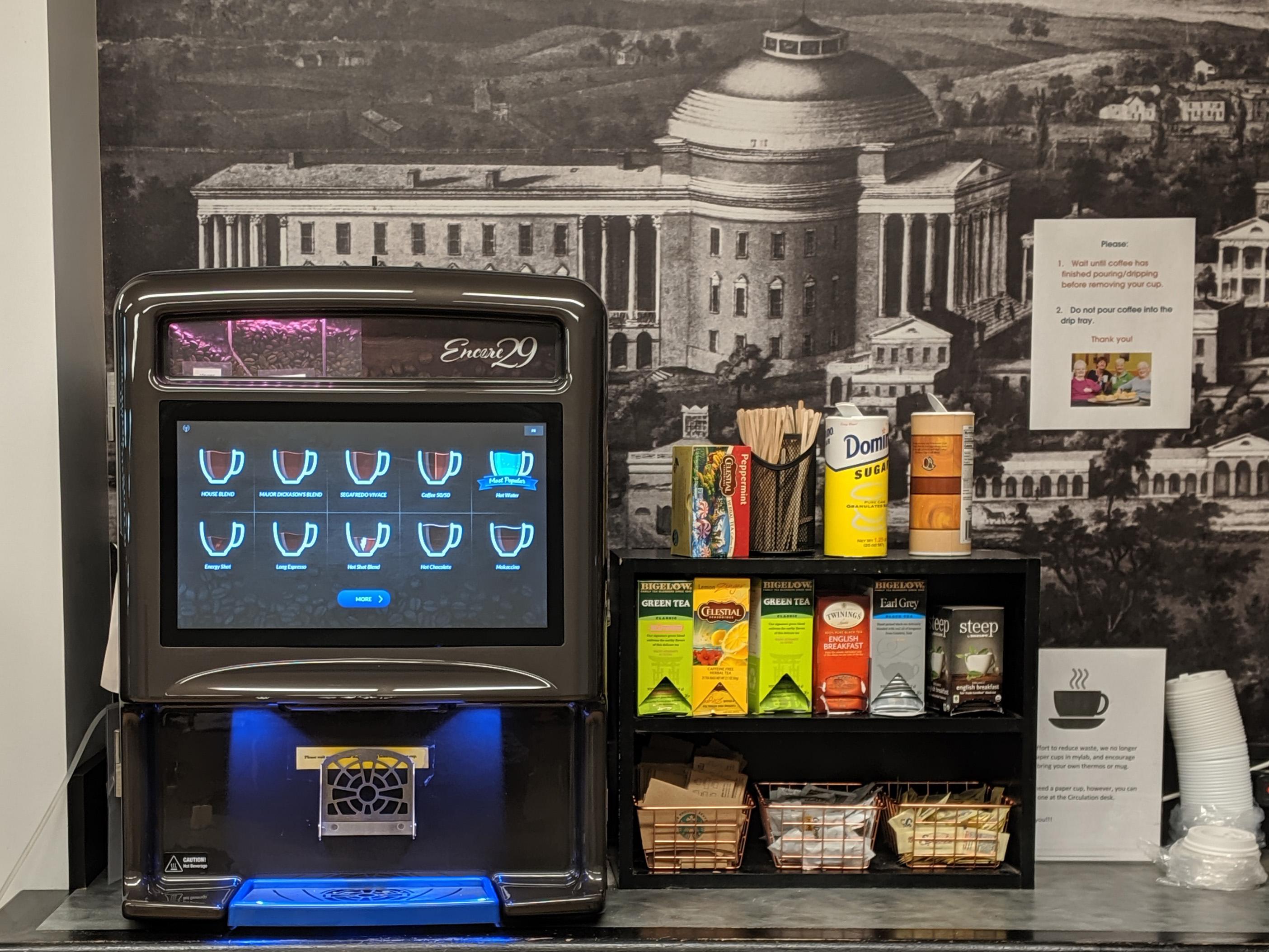 Coffee machine and tea options
