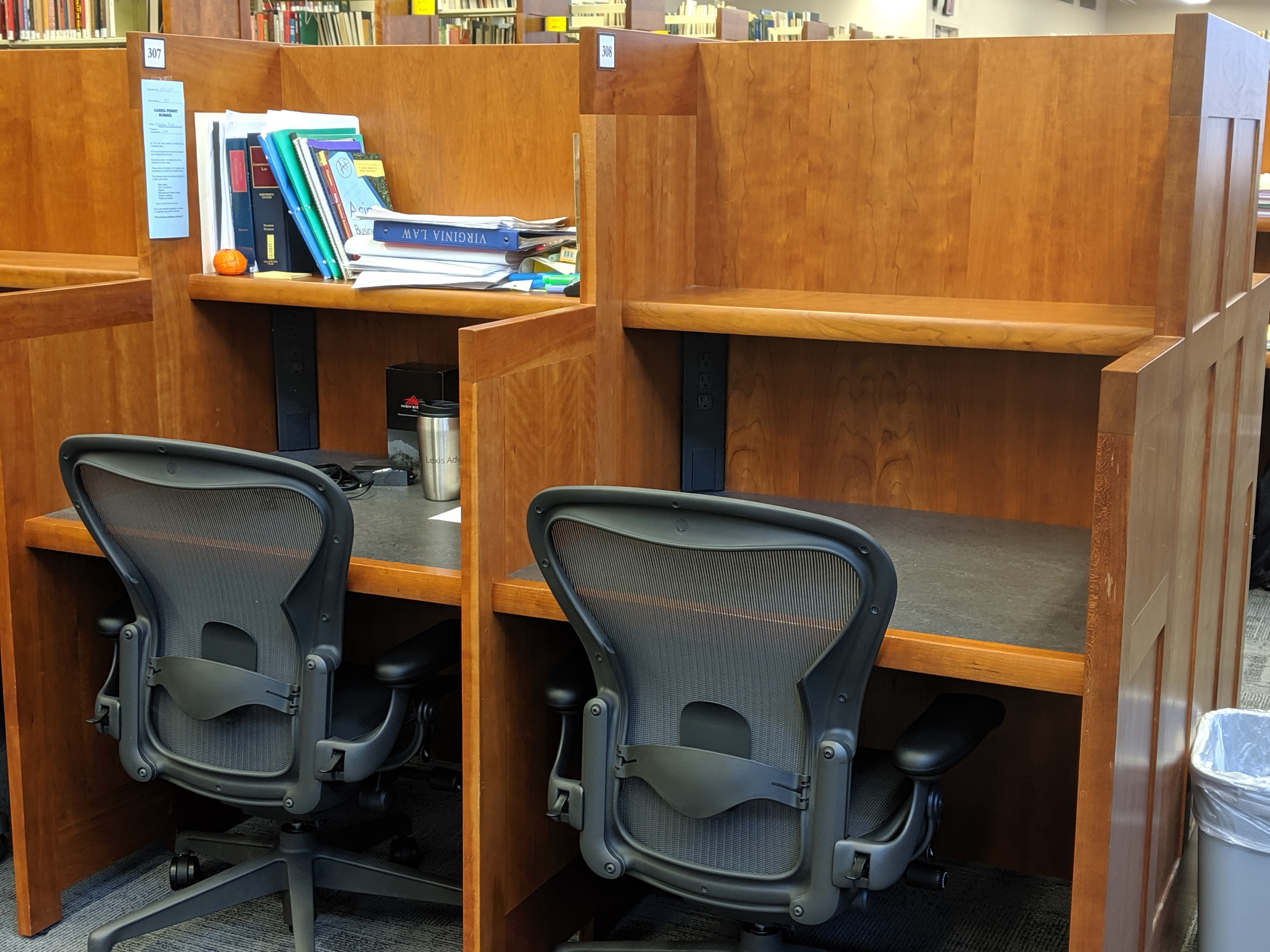 Two carrels, one in use