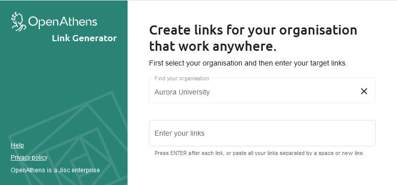 OpenAthens Link Generator preview