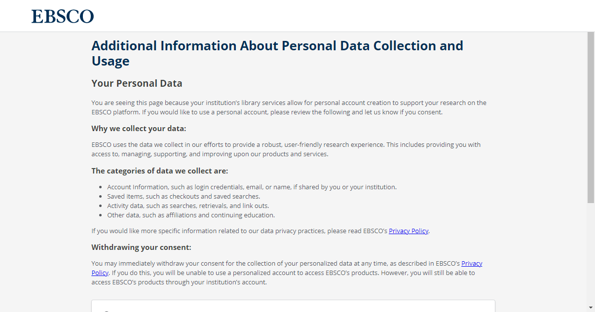 EBSCO Personal Data Collection landing page
