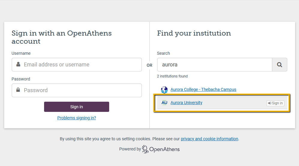 OpenAthens login screen with AU Sign-in link highlighted