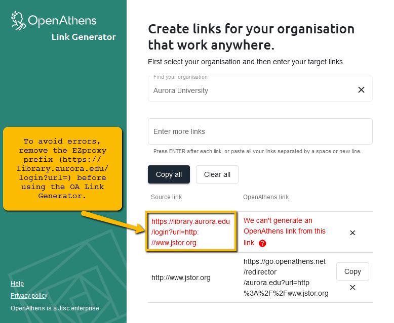 OpenAthens Link Generator example