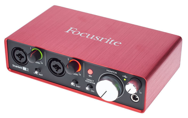 FocusRite Scarlett, red device with inputs and 1 knob