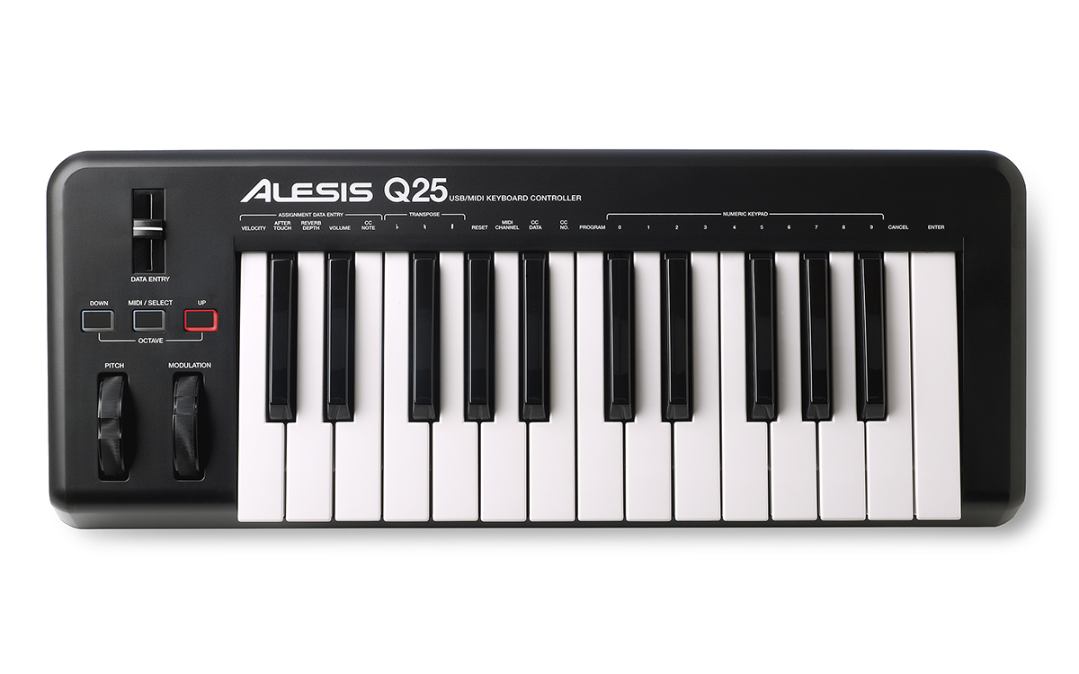 MIDI keyboard, black device with 2 octave range