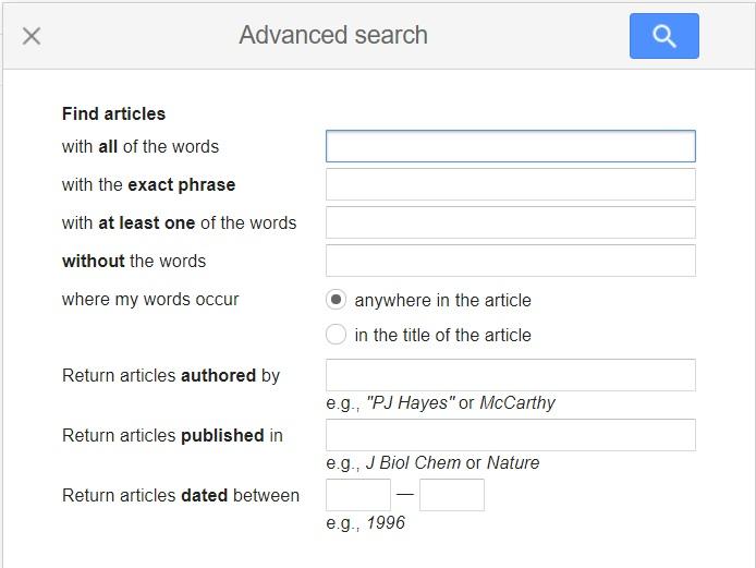 Google Scholar advanced search pop up box
