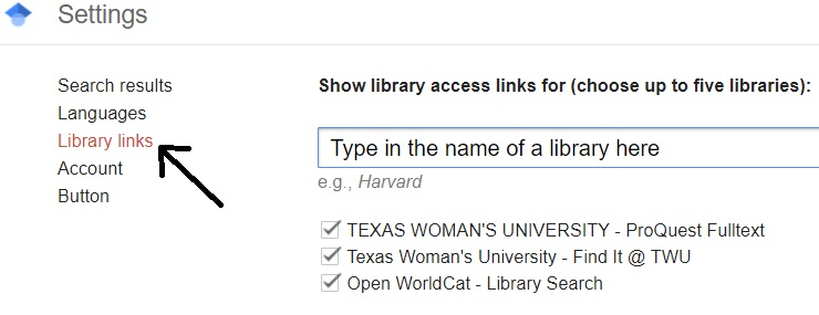 Google Scholar linking a library