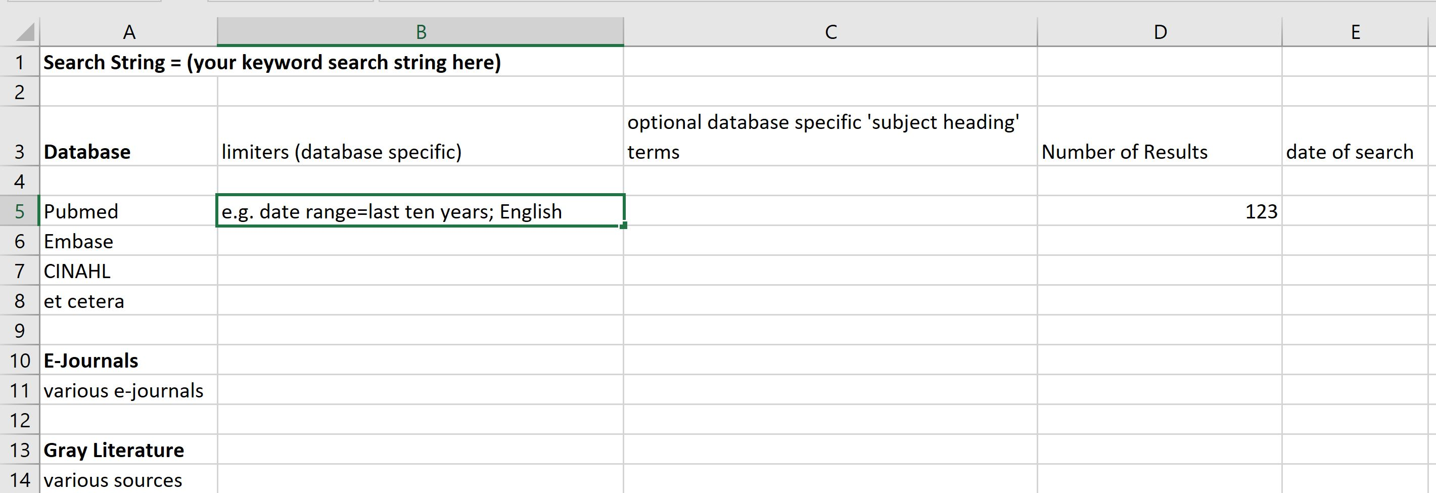 example of a recorded search using microsoft excel