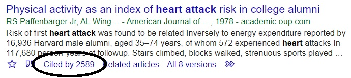 Google Scholar 'cited by' feature