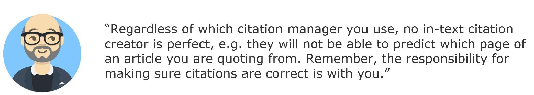 librarian avatar with quote on citation mangers not being perfect