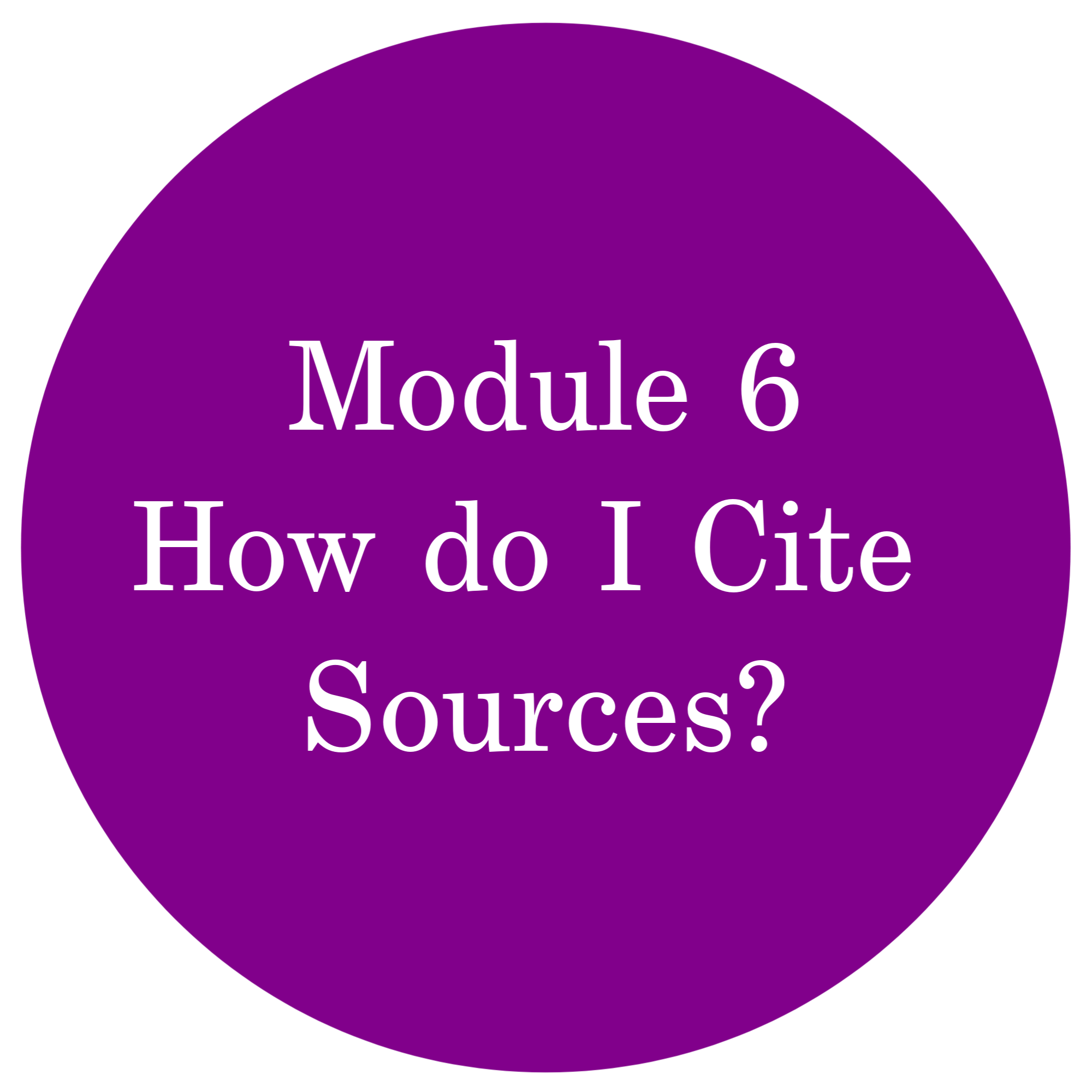 Module 6 How do I Cite Sources?