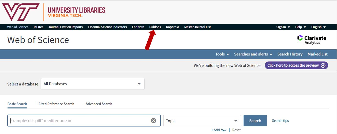 How to access Publons from Web of Science database