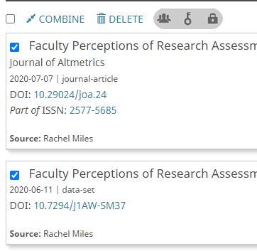 How to combine/merge works in ORCID