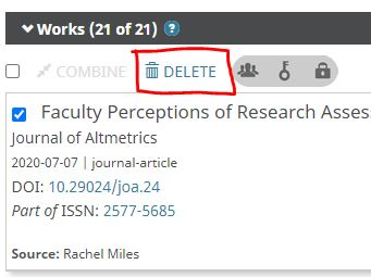 How to delete a work in ORCID