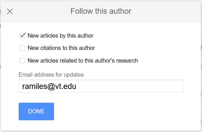 Follow an author on Google Scholar and receive alerts of new articles by the author