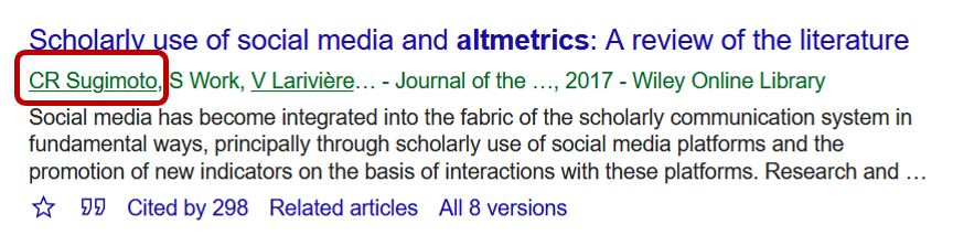 Google Scholar record with an author's name circled that can be selected