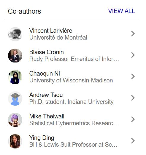 Co-authors listed on a Google Scholar Profile
