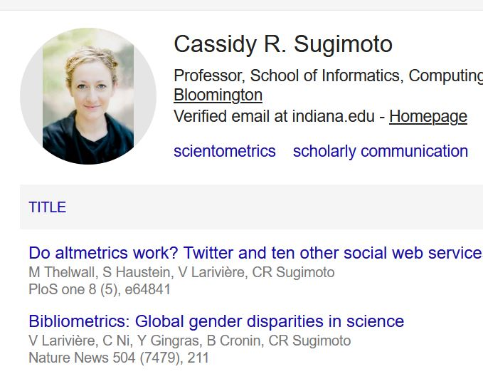 Example of a Google Scholar Profile and the works listed