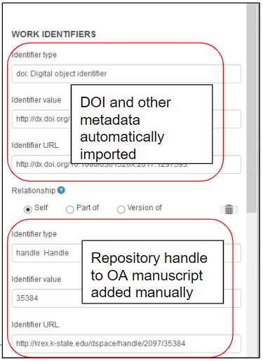 Screenshot with text showing how to add a link and identifier info to a record automatically imported to ORCID