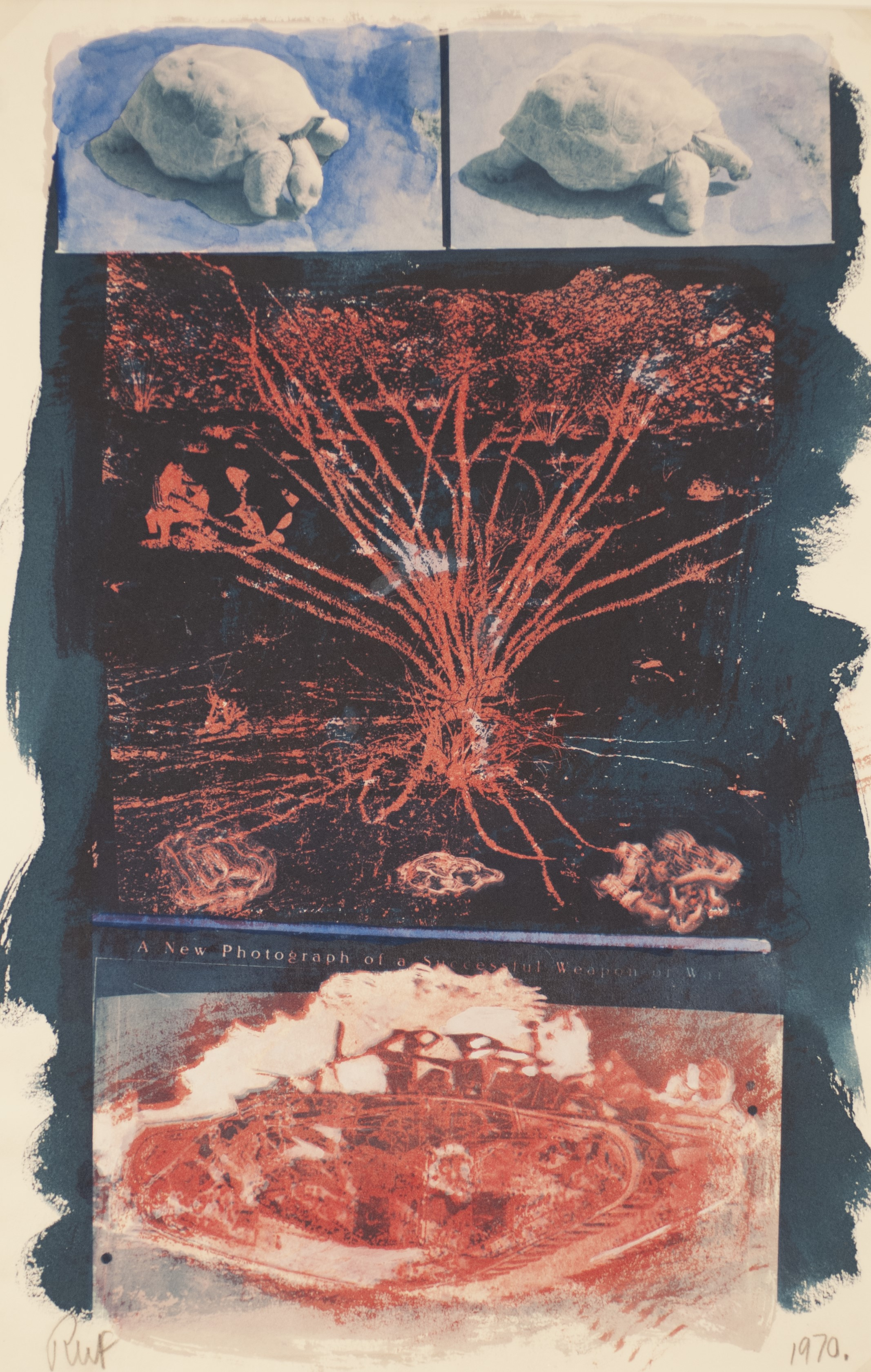 Image of a photograph by Robert Fichter, titled A New Photograph of a Successful Weapon of War, 1970 Cyanotype, gum bichromate print