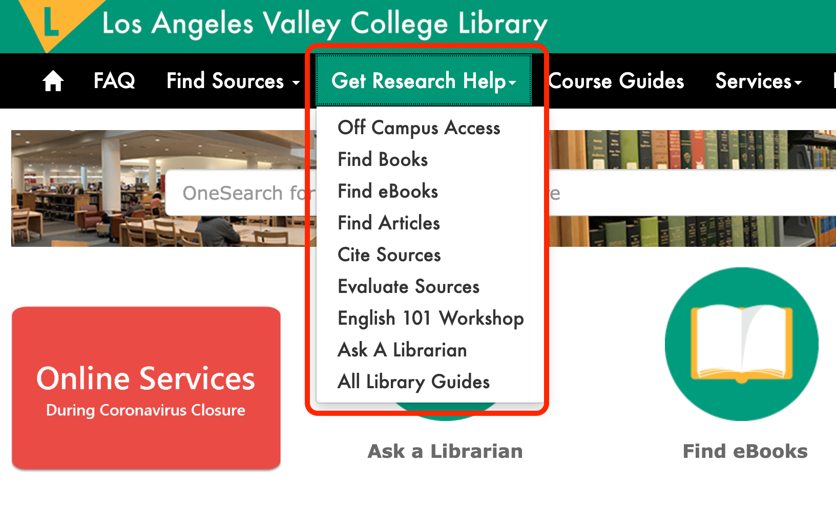 Screenshot of LAVC Website showing the Get Research Help menu options