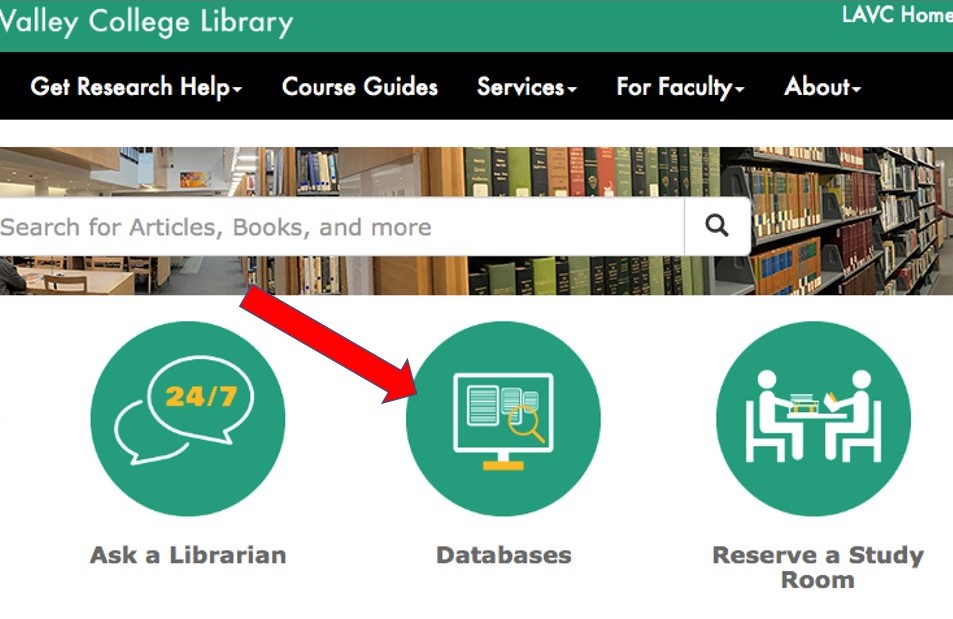 screenshot of library homepage pointing to databases button