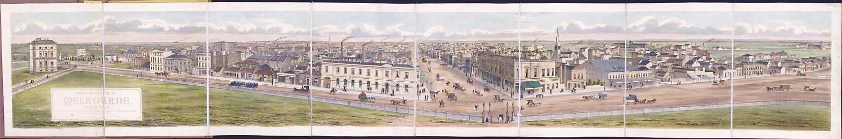 Panoramic view of Melbourne, Victoria. Lithographed by De Gruchy & Leigh from photographs taken on the summit of the Parliament Houses. 1863. National Library of Australia.