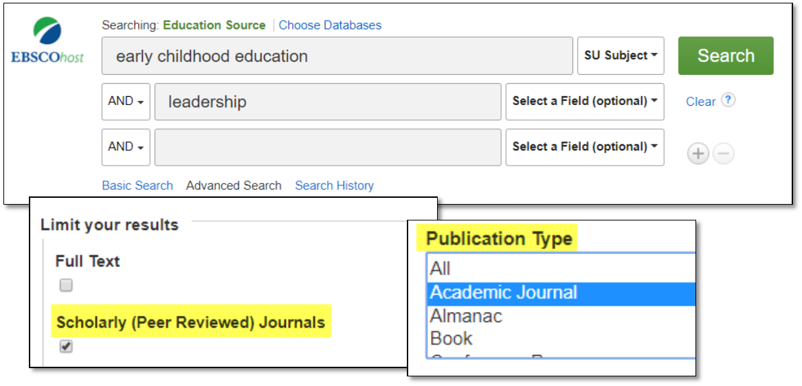 EBSCO advanced search example screenshot