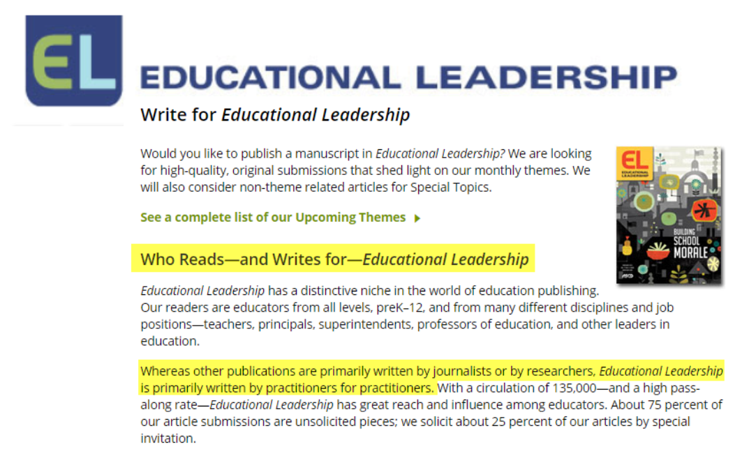 Screenshot from Education Leadership website