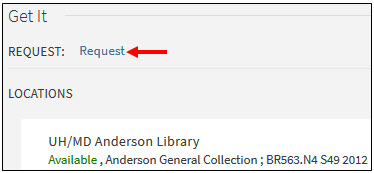 Book record showing Request button under Get It