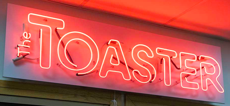 Neon sign of Toaster logo.