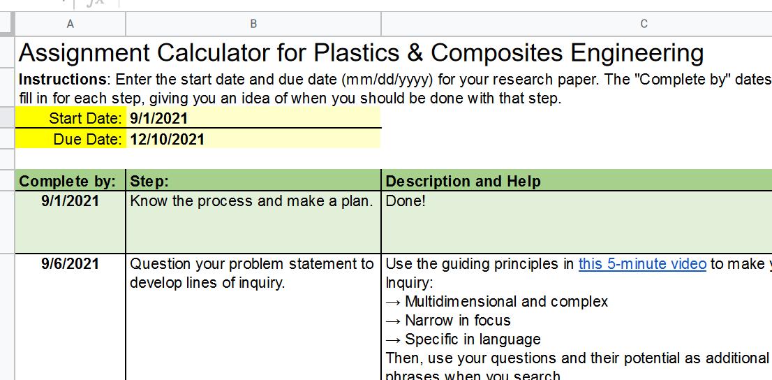 screenshot of Assignment Calculator