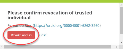 Confirm revocation of trusted individual