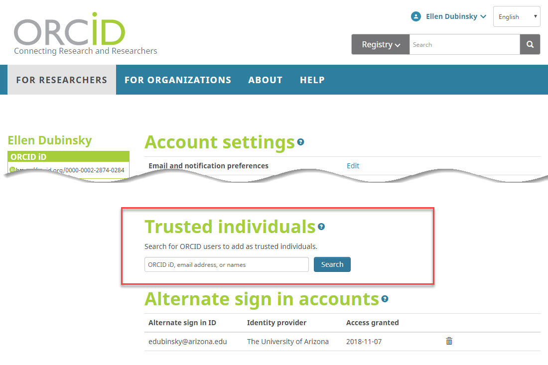 Add Trusted Individuals to ORCID record